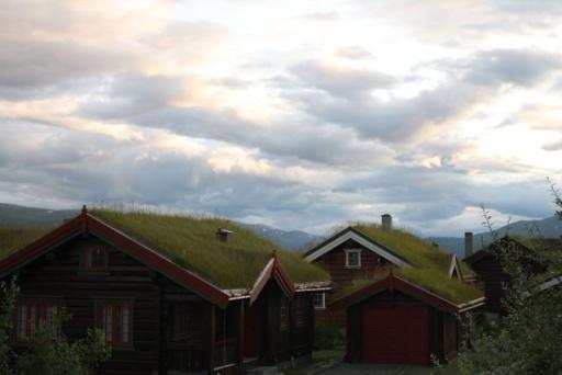 Huisje bedekt met gras. Iets wat je vaak ziet in Noorwegen.